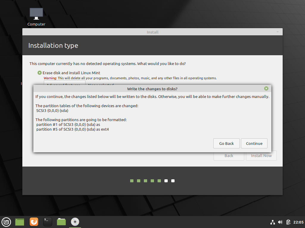 Confirm wiping hard drive to install linux mint