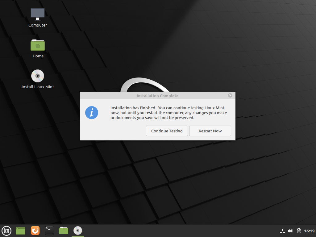Linux mint 20.1 installation completed