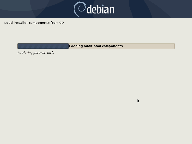Debian detecting hardware install screen
