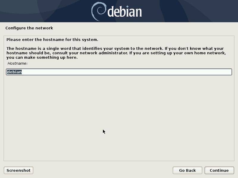 Debian install hostname