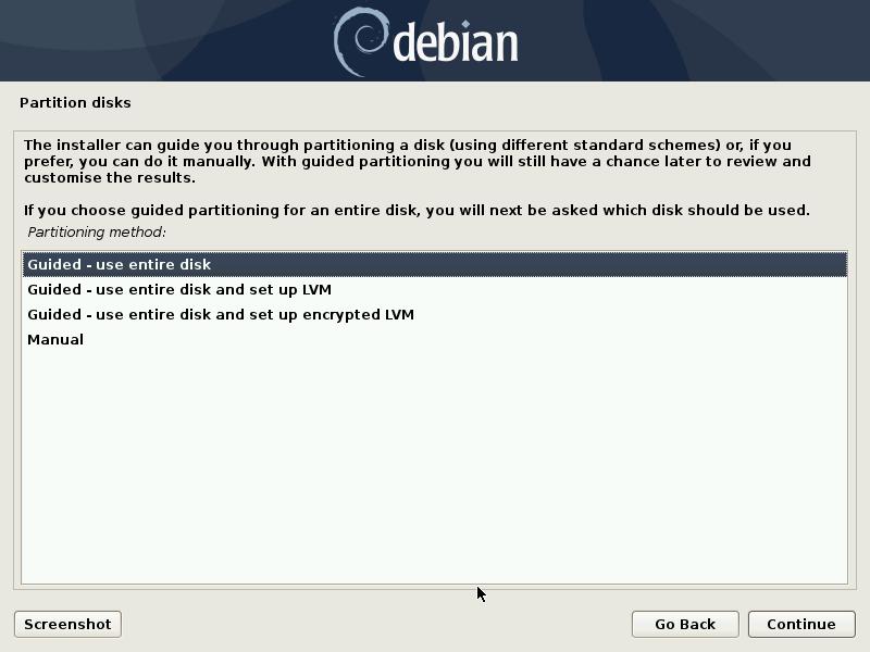 debian partition method