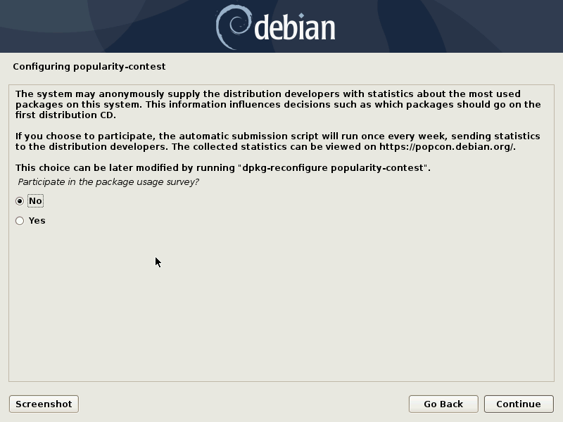 debian popularity contest install or not