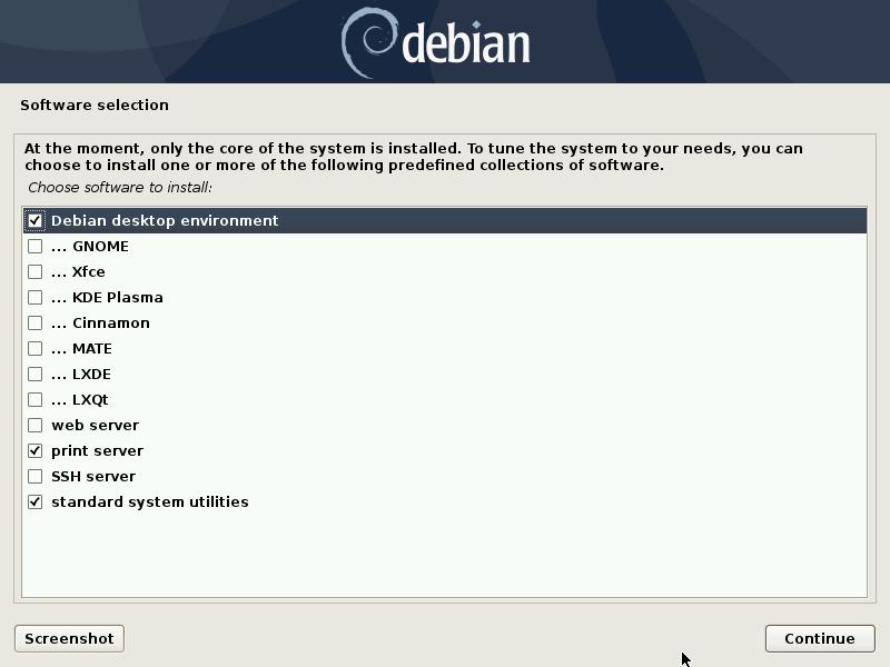 Debian desktop environment selection