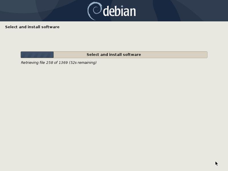 Debian installing software installation screen