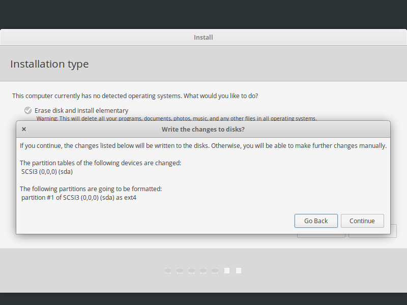 elementary os confirm hard drive