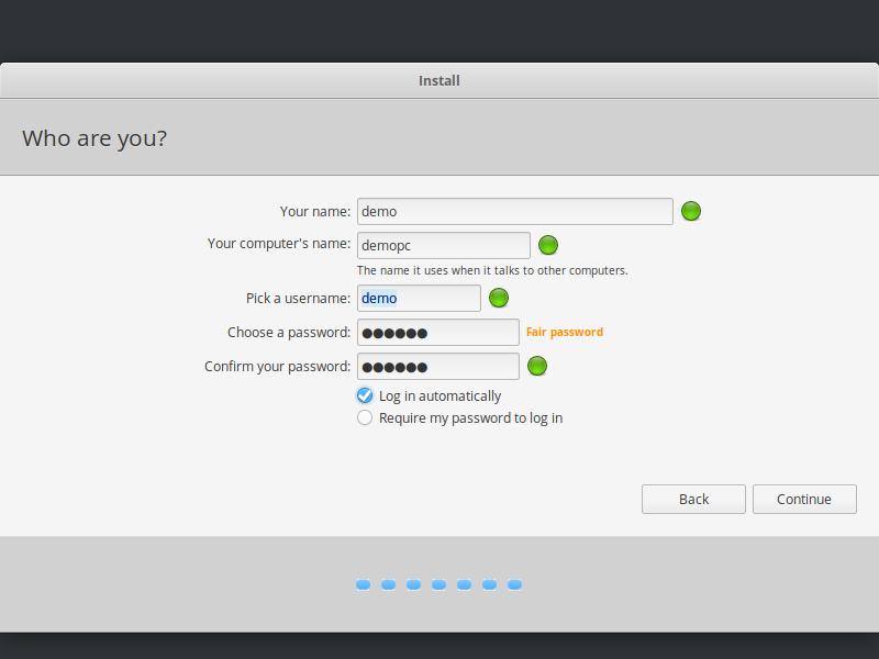 elementary os user setup installer